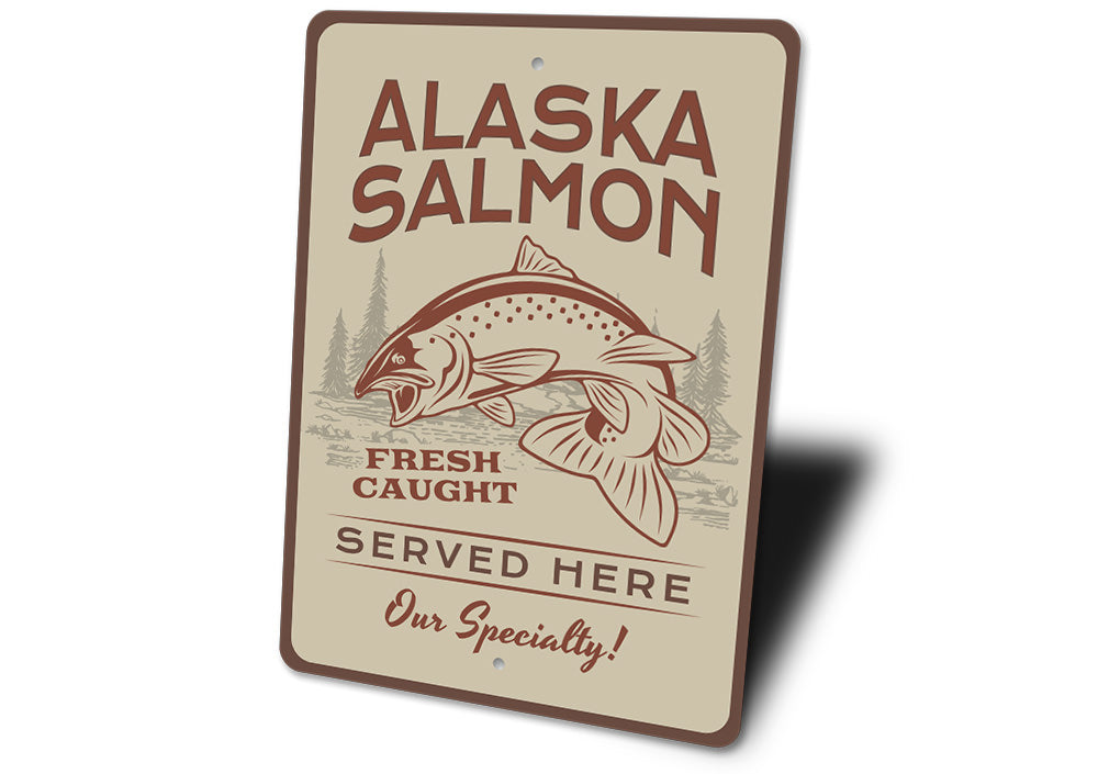 Alaska Salmon Sign Aluminum Sign
