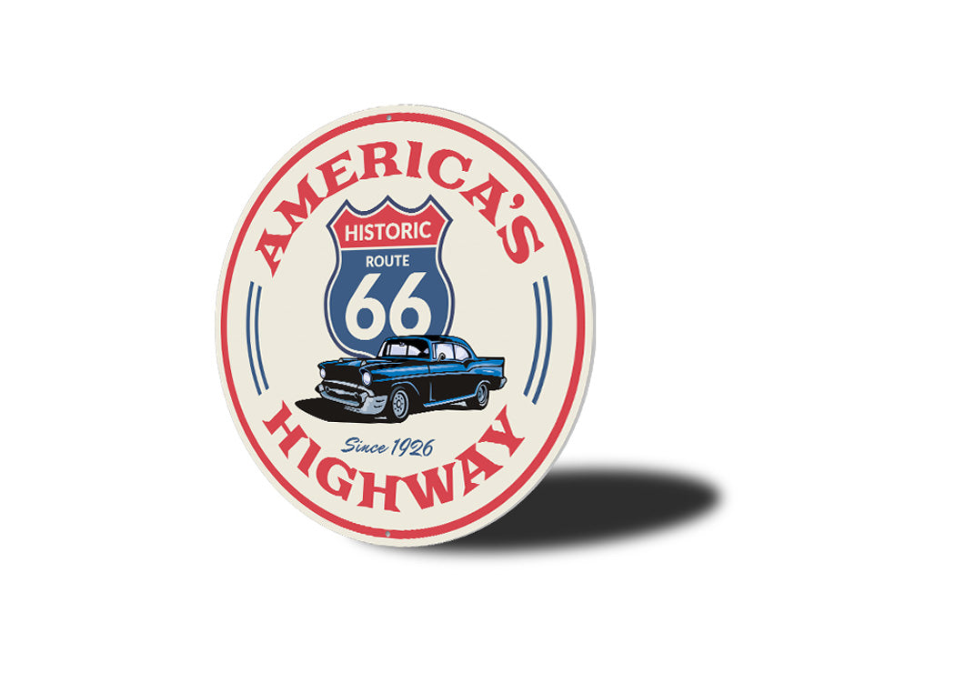 America's Highway Route 66 Novelty Sign Aluminum Sign