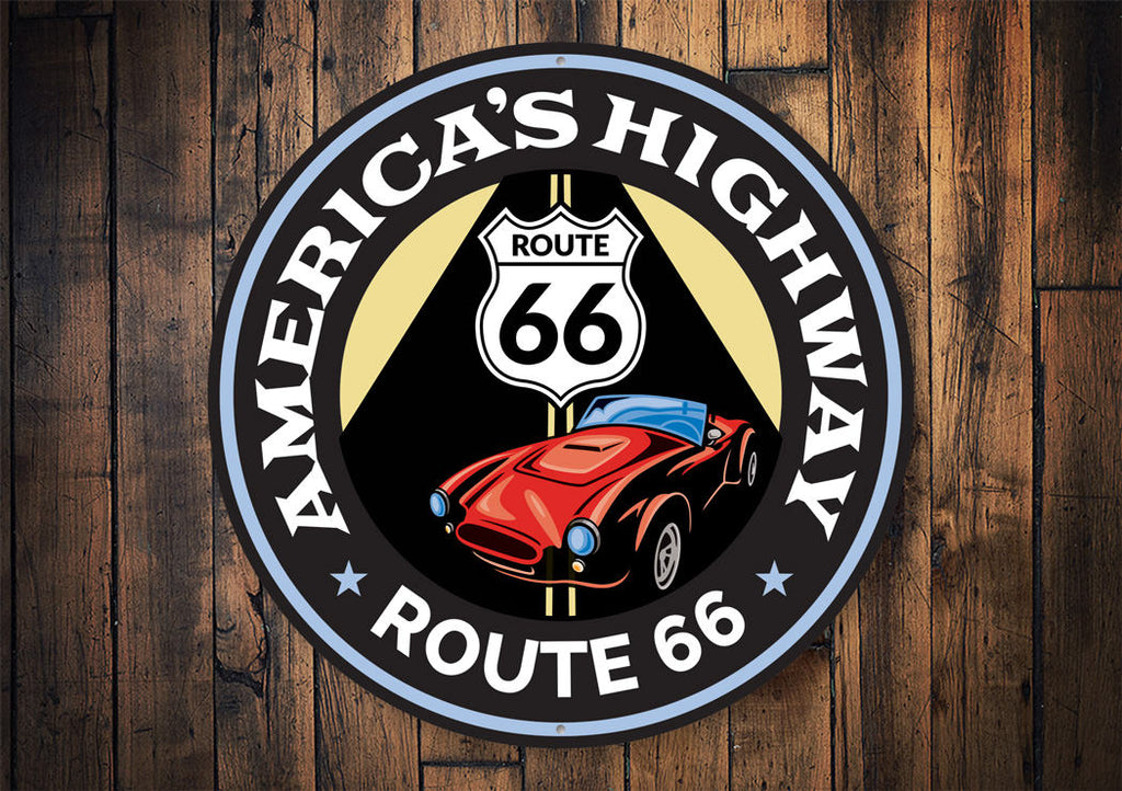 America's Highway Route 66 Sign Aluminum Sign