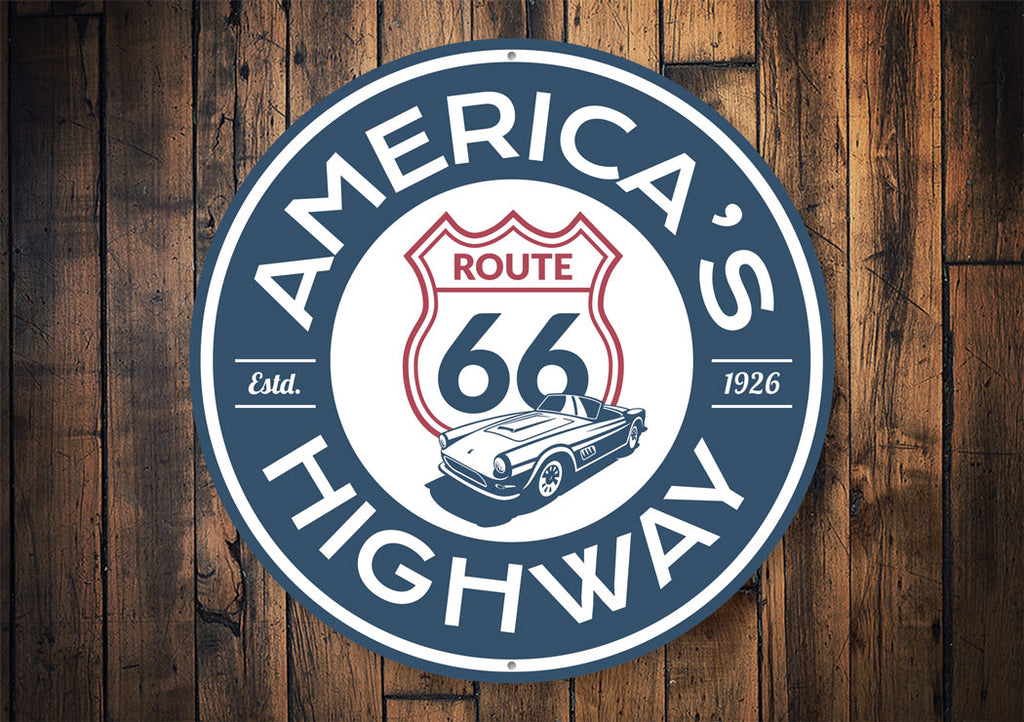 America's Highway Established 1926 Route 66 Sign Aluminum Sign