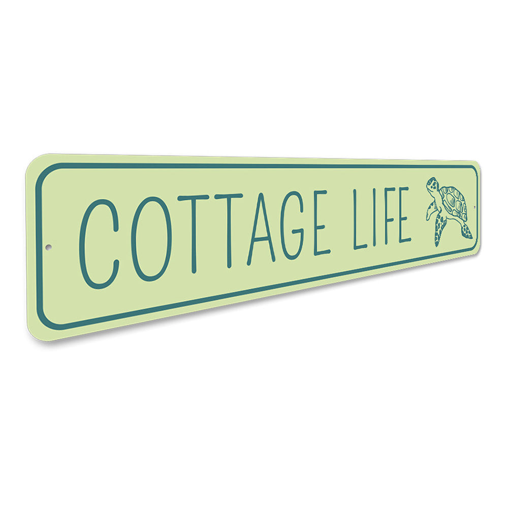Cottage Life Turtle Marine Beach House Aluminum Sign