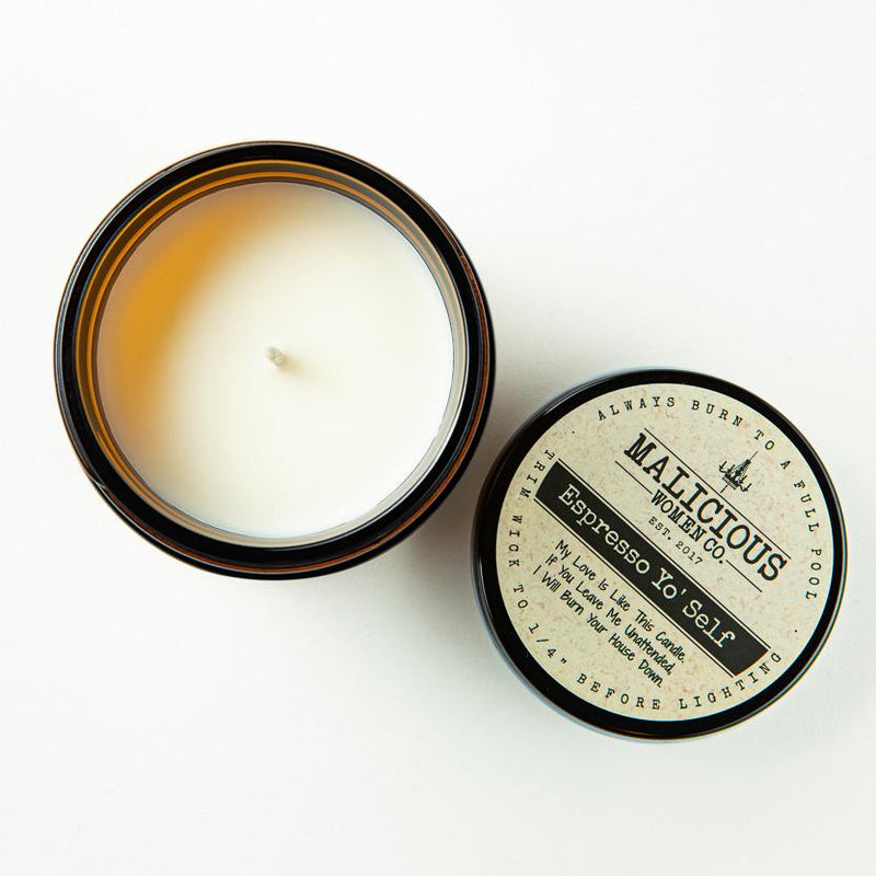 "Coffee 'Til Cocktails - Infused with ""An Appropriate Coping Mechanism"" Scent: Espresso Yo' Self Candle 2021 Malicious Women Candle Co."