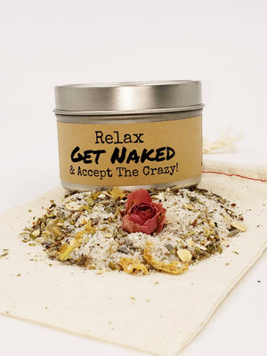 Get Naked & Accept The Crazy - Herbal Bath Salts & Tealights Gift Set