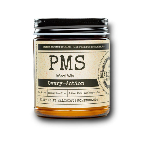 "PMS - Infused With "" Ovary-Action "" Scent: Pear & Ivy Candle 2021 Malicious Women Candle Co."