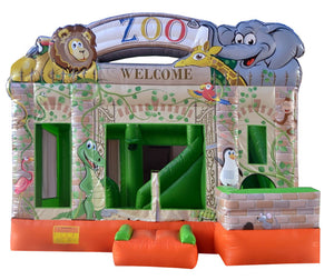 Zoo Bouncy Castle & Slide (13' x 13' x 13') All Day Rental
