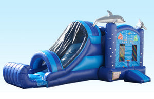 Dolphin Bouncy Castle & Slide (27' x 13' x 13')