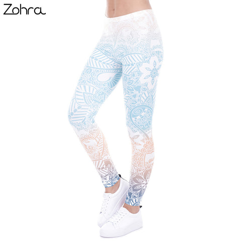 Zohra Brand Hot Sales Leggings Mandala Mint Print Fitness legging High Elasticity Leggins Legins Trouser Pants for women