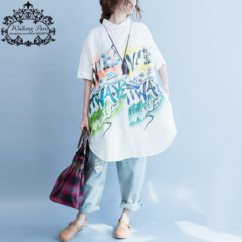 Women  -  Summer Pattern Letter Print - Loose Casual Blouse  -  O-Neck White Cardigan Linen