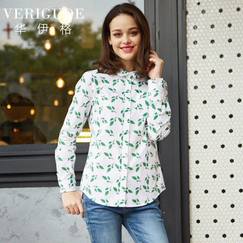 Leaves Print Cotton Blouse  - Long Sleeve  - Summer Shirt  - Turn-Down Collar  - Slim Fit