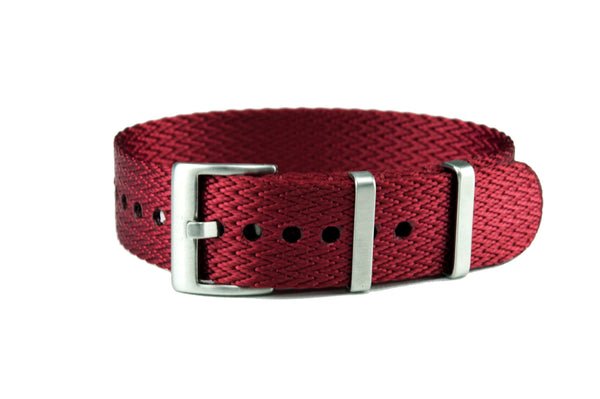 Red Single Pass Seatbelt Watch Strap