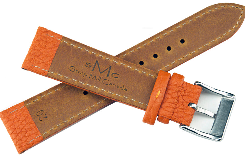 Pumpkin Padded Tumbled Leather Strap