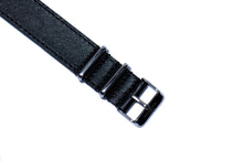 Extra Long Black Double Sided Leather Nato Watch Strap (Sold As-Is)