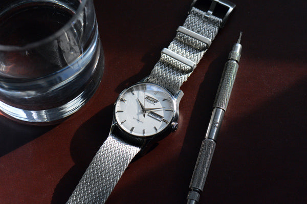 Silver Single Pass Seatbelt Watch Strap