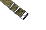 Strap Mill Canada Army Green cross stitched nato watch strap with brushed buckle.