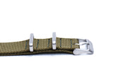 Strap Mill Canada Army Green cross stitched nato watch strap side view.