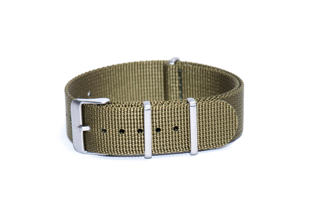 Strap Mill Canada Army Green cross stitched nato watch strap.