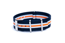 Navy Blue White Orange Nato Watch Strap