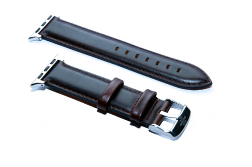 Dark Brown Leather with Orange Backing Watch Strap For Apple Watch