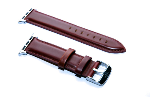 Red Brown Leather with Orange Backing Watch Strap For Apple Watch