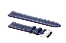 Blue Padded Tumbled Leather Strap