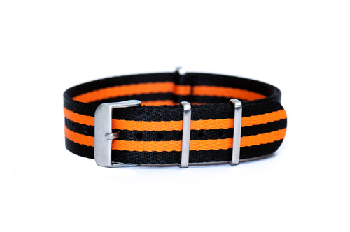 Orange Bond Thin Seatbelt Nato Watch Strap