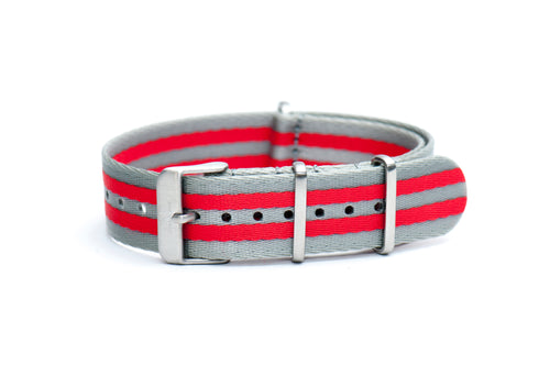 Cobra Red Silver Stripe Thin Seatbelt Nato Watch Strap
