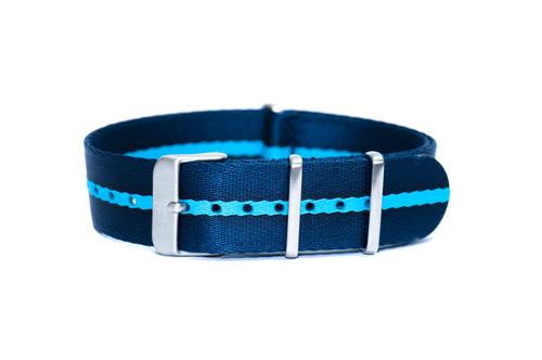 Blue Stripe Thin Seatbelt Nato Watch Strap