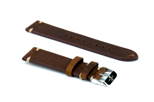 Vintage Chestnut Brown Double Sided Leather Strap