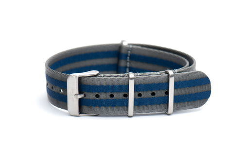 Blue Grey Stripe Thin Seatbelt Nato Watch Strap