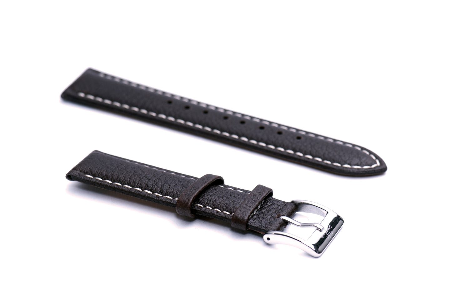 Brown Padded Tumbled Leather Strap