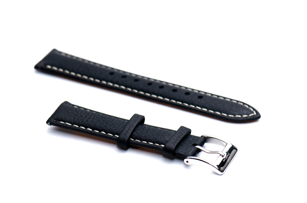 Black Padded Tumbled Leather Strap