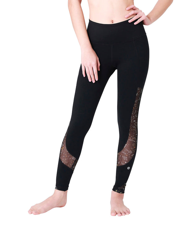 PRINTED MESH LEGGINGS - FALLING LEAVES, Leggings - Wakingbee