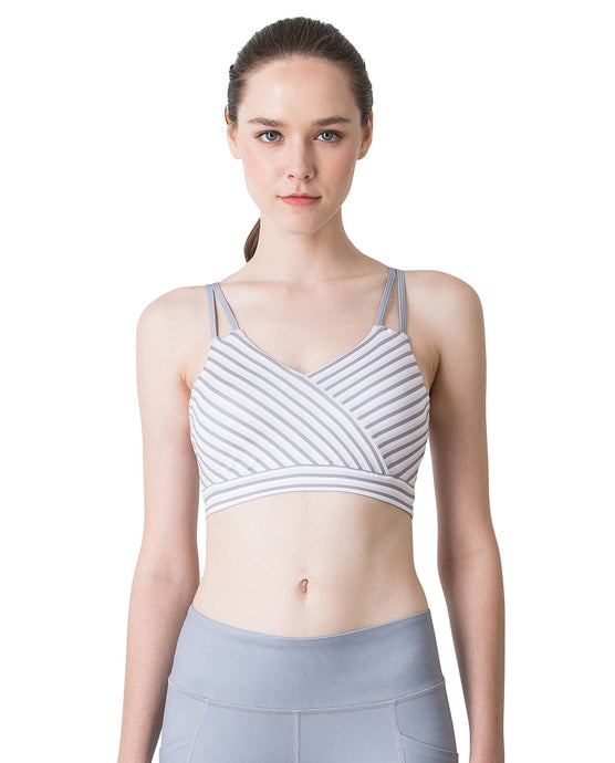 (NEW) STRIPE BRA - GREY & PEACH