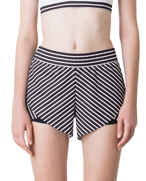 STRIPE SHORTS - BLACK & WHITE