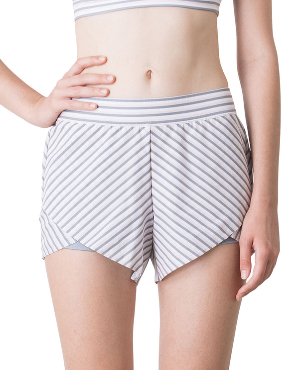 STRIPE SHORTS - GREY & PEACH, Shorts - Wakingbee