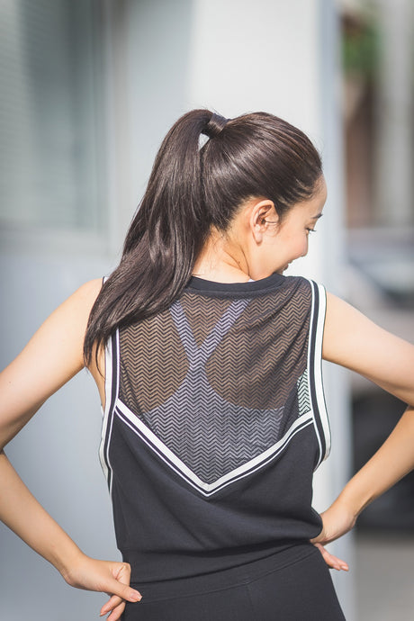 (WBxTAEW) MESH BACK CROP - BLACK, Tank/Top - Wakingbee