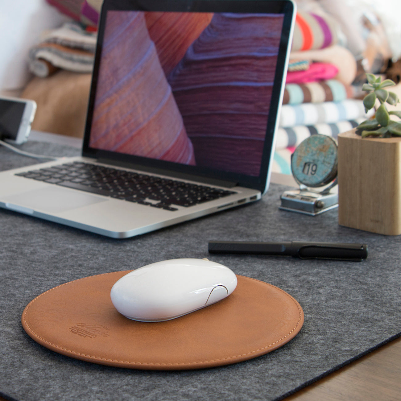 Round Brown Mouse Pad