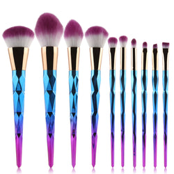 10PC Diamond Makeup Brushes