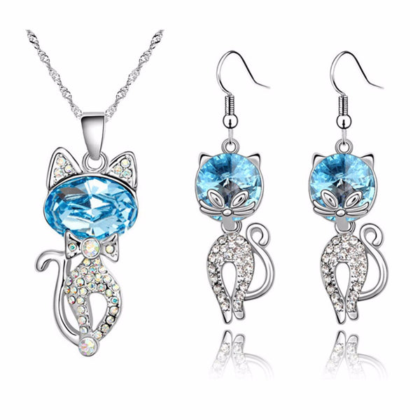 White Gold Cat Necklace/Earring Set