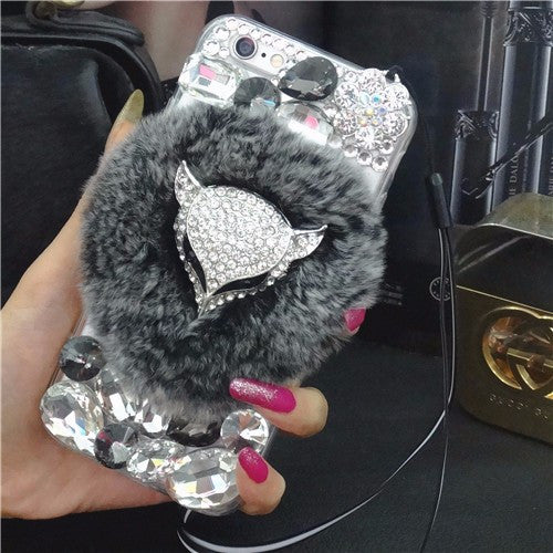 <b>SAMSUNG</b>- Bling Furry Fox Head Phone Case - LIMITED EDITION
