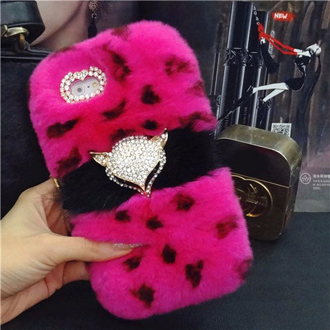 <b>SAMSUNG</b> - Furry Rhinestone Fox Head Phone Case