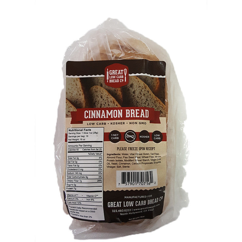 Cinnamon Bread by Great Low Carb Bread Company, 16 oz.