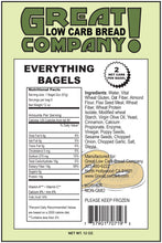 Everything Bagels by Great Low Carb Bread Company, 16 oz. Nutritional Facts