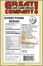 Everything Bread by Great Low Carb Bread Company, 16 oz. Nutritional Facts