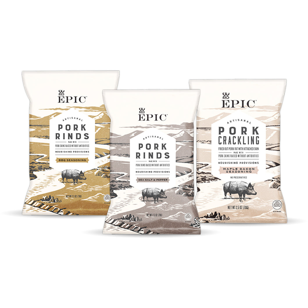 Pork Skin Assortment Pack by EPIC, 7.5 oz.