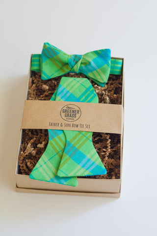 Father & Son Bow Tie Set in Picnic Plaid