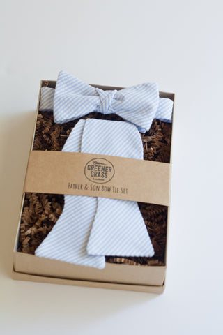 Father & Son Bow Tie Set in Blue Seersucker
