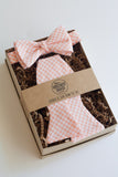 Father & Son Bow Tie Set in Peach Gingham