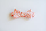 Little Boy Bow Tie in Peach Gingham