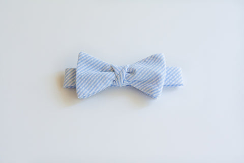 Little Boy Bow Tie in Blue Seersucker